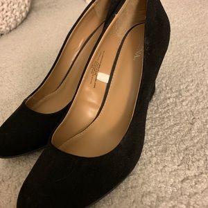 Merona black suede black wedges size 10. Worn once